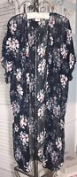 NEW XL Blue Pink Floral Open Duster Topper Kimono