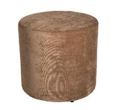 Amaris Elements | Sofa Hocker rund Stoff braun Samt 45x45 Sitzwürfel Fußhocker