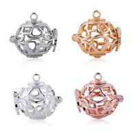 5x Teapot Hollow Heart Diffuser Teapot Pearl Cage Locket Pendant DIY Necklace