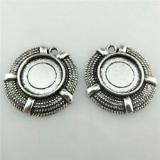 20226 15X Vintage Silver Crods Beach Rubber Pendant Tray Fit 12mm Base Setting