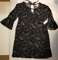 TERRA & SKY BELL SLEEVE DRESS WOMENS PLUS BLACK WHITE PAISLEY 0X 1X NWT FAST