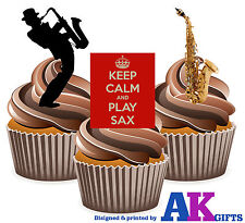 Keep Calm Saxo Saxofón Mix 12 Comestibles Stand Up Cup Cake Toppers Decoración