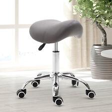Hydraulic Adjustable Salon Stool Swivel Rolling Saddle Chair SPA Massage - Gray