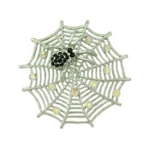 Silver-tone Crystal Web with Black Crystal Spider Brooch Pin - PRI602