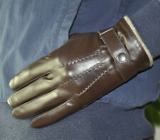 Men's Genuine Sheep Leather Wrist Gloves Touch Screen 3 Lines Wool Wrist