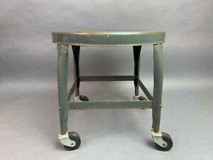 """Industrial Vintage UHL STEEL Toledo Metal Furniture Rolling Chair / Stool - 14"""""""