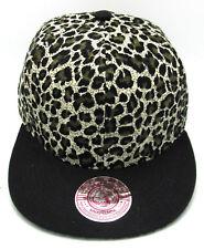 LEOPARD Flat Bill Snapback Cap Hat Green Faux Animal Print Crown Hip Hop NWT