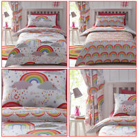 Multicolour Clouds and Rainbows Happy Colourful Reversible Duvet Quilt Cover Set