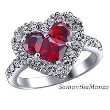 Heart Shape Invisible Set Ruby Red Cz Cubic Zirconia Pave Wedding Band Ring 8