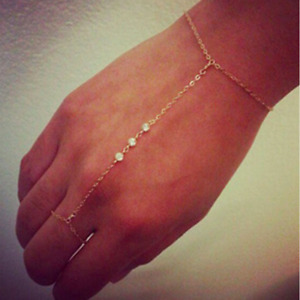 New Sexy Gold Chain Crystal Charm Bracelet Finger Ring Slave Hand Harness UK