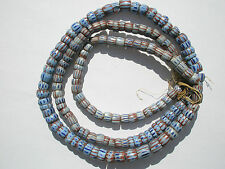 Antique Light Blue (Grey or Awale)  Chevron Trade Beads - 8-10mm - 1 long strand