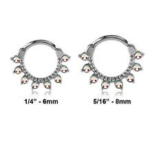 316L Surgical Steel Septum Clicker Cartilage Helix Nose Ring Hoop Aurora CZ 16G