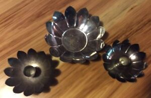 Pair Of Leonard Silver Plated Lotus Flower Candle Stick Holders And Bowl