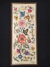 """Vintage Framed Crewel Embroidered Picture 1970's Floral Boho Jacobean 24""""H"""