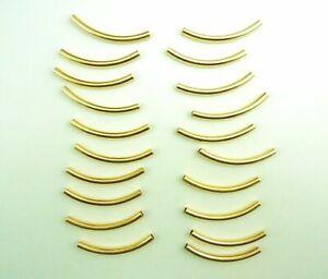 20 Stück Hohlrohr gebogen 65 mm  gold Metall Modeschmuck Ketten Basteln NEU