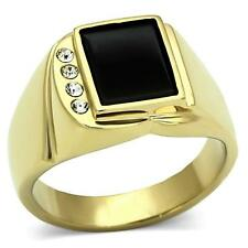 Stainless Steel Rectangle Jet  Black Onyx & cz Gold ep Men's Ring