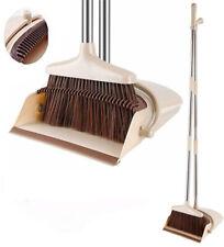 More details for long handled foldable dustpan & brush set strong handle dust pan & broom sweeper