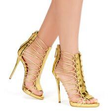 Womens Hollow Out Roman Buckle Slingback Sandals Peep Toe Slim High Heel Shoes