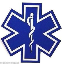 "STAR OF LIFE Highly REFLECTIVE 4"" x 4"" Decal  EMS EMT PARAMEDIC Star of Life"
