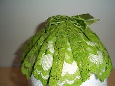 Vintage Green Floral Lace Veil Head Piece With Comb - Excellent