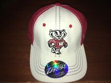 Wisconsin Badgers Stretch Fit Hat (Baseball Cap) Medium/Large Campus Map