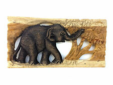 Vintage Hand Carved Wood Thailand Elephant Wall Hanging Home Decor Figure No.2