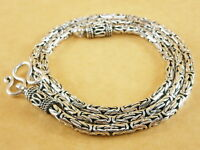"Handmade 925 Sterling Silver Necklace Chain Byzantine Bali Borobudur 20"" 34g 3mm"