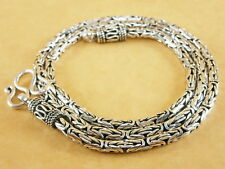 "Handmade 925 Sterling Silver Necklace Chain Byzantine Bali Borobudur 20"" 34g 3mm"