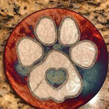 Paw Print Coaster Raku Pottery, handmade, handsigned - NEW
