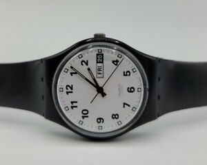 "Swatch 1999 ""Once Again"" GB743 Classic Swiss Watch Day Date No Bubble Magnifier"