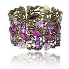 Cameo Flower Resin Hollow Cuff Elegant Open Statement Journey Bangle Bracelet