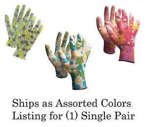 Nitrile Coat Floral Garden Gloves Women Ladies M/L Assorted Flower Color, 1 Pair