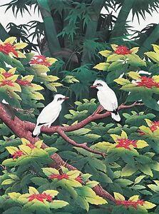 Hand painting Balinese Starling Birds 308