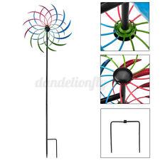 Rainbow Colorful Metal Windmill Cyclone Wind Spinner Yard Garden Pinwheel Decor