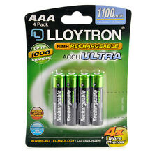 4 Lloytron AAA 1100 mAh Rechargeable Batteries Solar NiMH HR03 Cordless Phone
