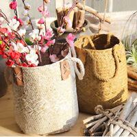 Handwoven Wicker Bag Tote Shopping Picnic Basket Laundry Organizer Box