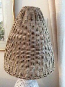 VINTAGE RETRO 1970s Mid Century Wicker Light Lamp Shade Cane Rattan