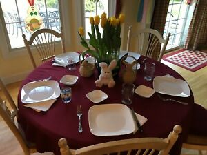 """Ethan Allen Country French 8-piece Dining Set – 54"""" round opens to 74"""" with leaf"""