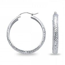 14k White Gold Round Hoops Half Dome Earrings Diamond Cut French Lock Polished
