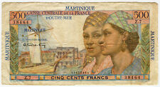MARTINIQUE FRENCH 1947-49 ISSUE 500 FRANCS SCARCE NOTE CRISP F/VF.PICK#32.
