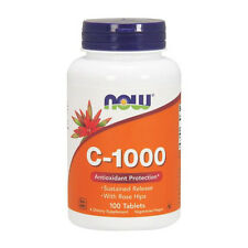 NOW Foods C-1000 x 100 Tabs, 1g Vitamin C + Rose Hips, Sustained Release, Vegan