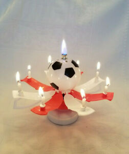 """Magical Birthday Candles Soccer Ball """"Trophy Style"""" Red & White Cake Topper"""