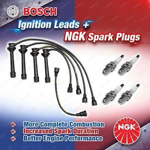 4 NGK Spark Plugs + Bosch Ignition Leads Kit for Suzuki Vitara SE416 TA02C TA02V