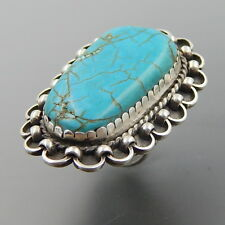 HANDCRAFTED STERLING SILVER LARGE TURQUOISE ROPE SWIRLS STATEMENT WIDE RING
