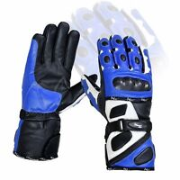 Blue Thermal Waterproof Motorbike Motorcycle Gloves Carbon Knuckle Protection