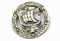VINTAGE SCOTTISH Glasgow 1951 SILVER LONG BOAT / SHIP BROOCH GIFT BOXED