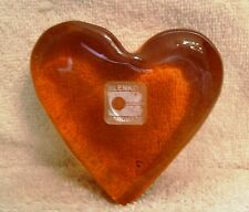 Vintage Orange Blenko Glass Heart Shape Paperweight with Sticker