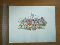 Lithographie - Dessin de Maurice Pouzet - Années 40 - Scène de guerre moyen age