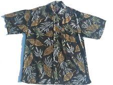 Jack Hollywood Hawaiian Black Multi Foliage Print Shirt Size Large