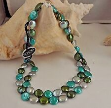 """GORGEOUS  HONORA 12-MM  ENVY-GREEN-CARIBBEAN- GREY COIN PEARL NECKLACE NEW  36"""""""